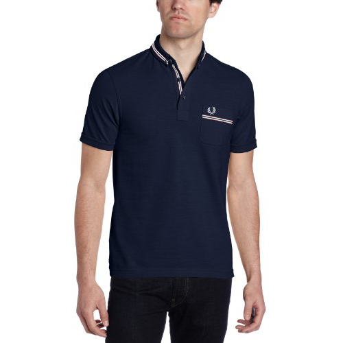 Fred Perry Men's Grossgrain Polo, Dark Carbon, Medium