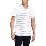 Calvin Klein Jeans Men's Tinge Stripe Short Sleeve Polo, White, Medium