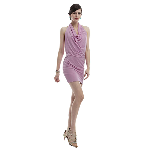 Doublju Fitted Dress with Halter Neck and Sexy Back MAUVE S