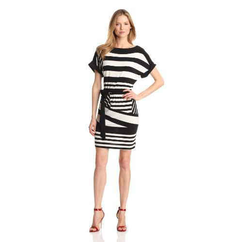 Tiana B Women's Combo Stripe Belted Dress, Black/White, X-Large